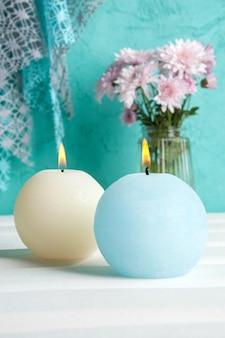 Blauw en crème aroma kaarsen