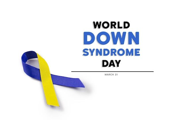 Blauw en geel lint voor world down syndrome day