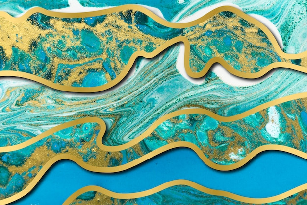 Blauw en goud agaat rimpelpatroon. marmeren achtergrond met golflagen.