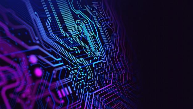Blauw en paars technologiecircuit