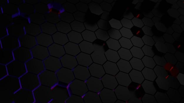 Blauw en rood licht op abstracte zeshoek achtergrond
