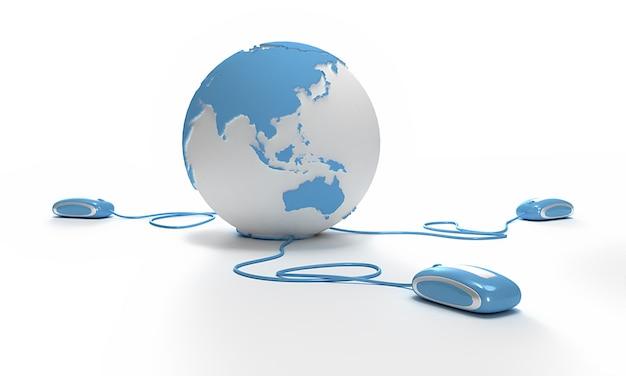 Blauw en wit earth globe gericht op azië verbonden met drie computermuizen.