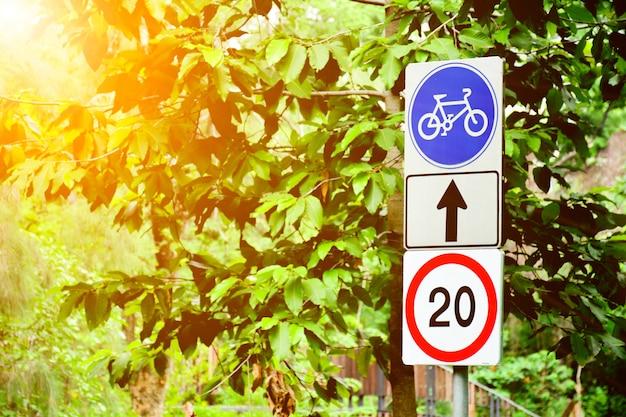 Blauw fietsteken in het park.