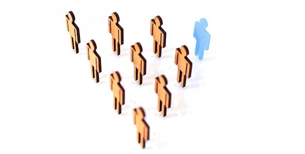 Blauw figuur silhouet man hoofd van werkzoekenden