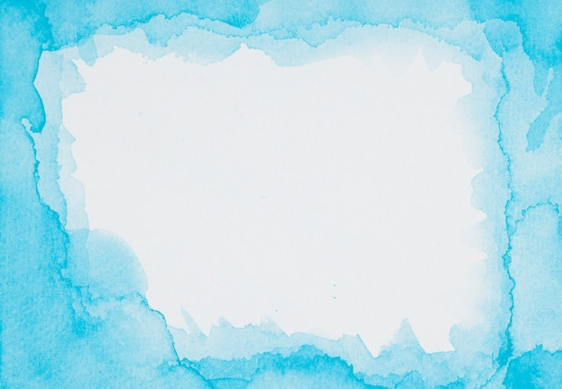 Blauw frame van verven op wit blad