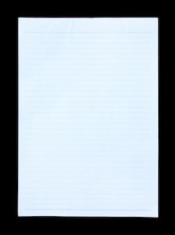 Blauw gevoerd die document op zwarte achtergrond wordt geïsoleerd