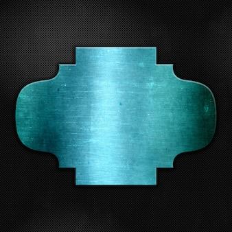 Blauw grungemetaal op een koolstofvezeltextuur