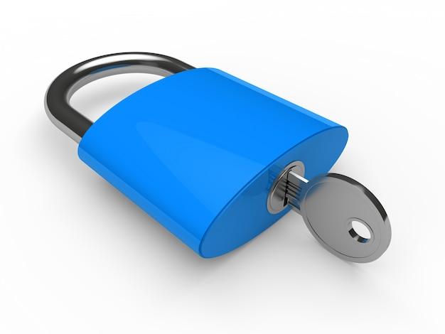 Blauw hangslot met een sleutel