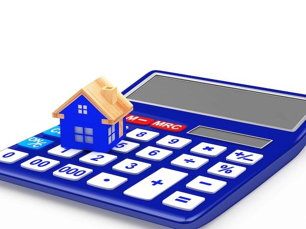Blauw huis op de rekenmachine
