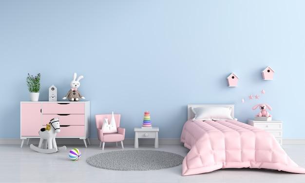 Blauw kind slaapkamer interieur