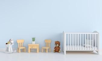 Blauw kinderkamer interieur voor mockup