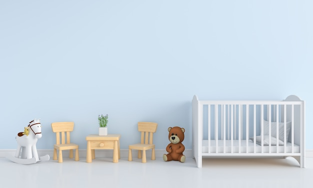 Blauw kinderkamer interieur voor mockup Premium Foto