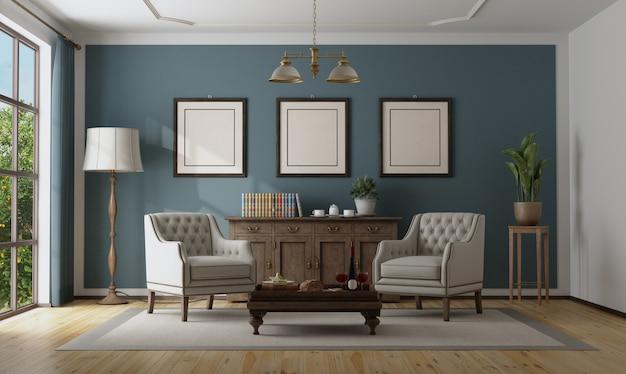 Blauw klassiek interieur met elegant meubilair