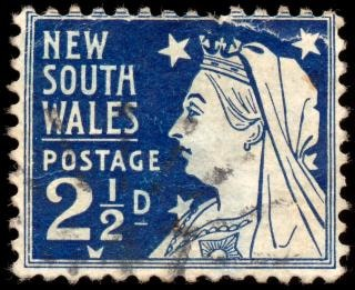 Blauw koningin victoria stempel koninklijk