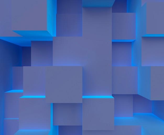 Blauw licht kubus split level scene