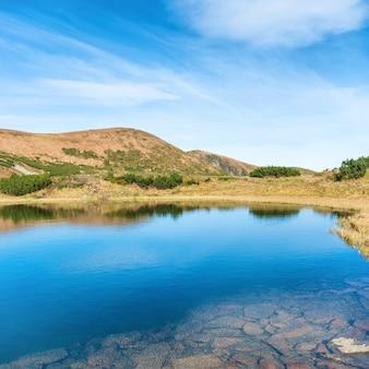 Blauw meer in de bergen met weerspiegeling in water