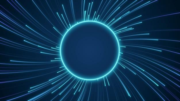 Blauw neon gloeiend cirkelframe met snel bewegende deeltjes lichtstraal snelheid warp, digitale hyperspace cirkelvormige geometrische beweging achtergrond met kopie ruimte voor het toevoegen van tekst of logo-ontwerp