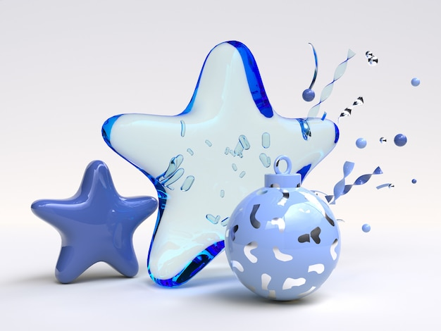 Blauw object kerst ornament 3d-rendering