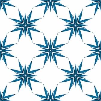 Blauw opmerkelijk boho chic zomerontwerp. trendy organische groene rand. organische tegel.