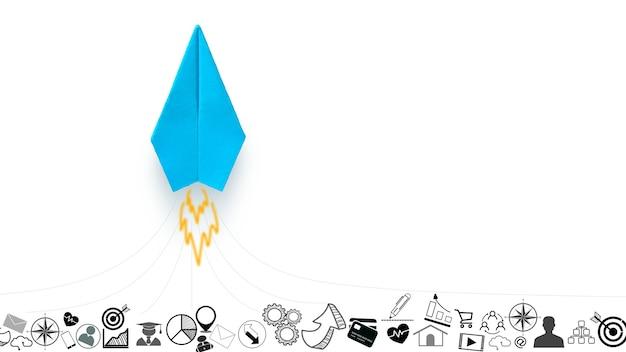 Blauw origamipapier vliegtuig zweeft boven op een witte achtergrond met een bedrijfsillustratiepictogram