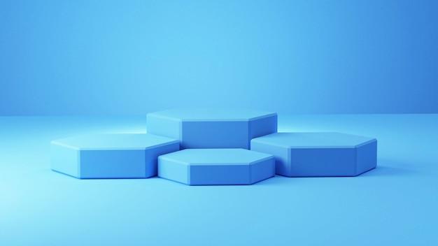 Blauw pastel vijfhoekig podium op een blauwe pastel kamer