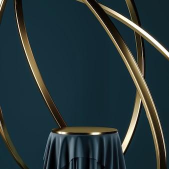 Blauw podium en gouden tafelblad, zwevende gouden ring. abstracte achtergrond voor productpresentatie of advertenties. 3d-rendering
