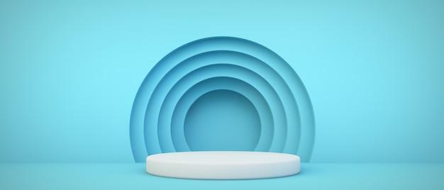 Blauw podium met cirkels achtergrond