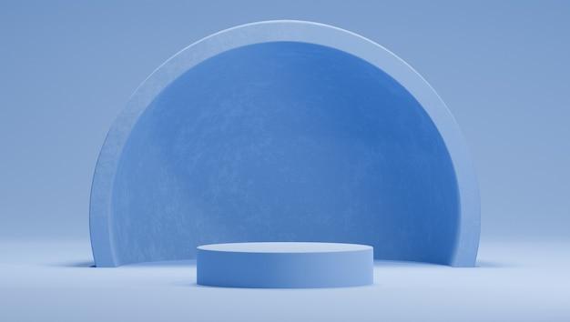 Blauw podium met een halfrond boogontwerp