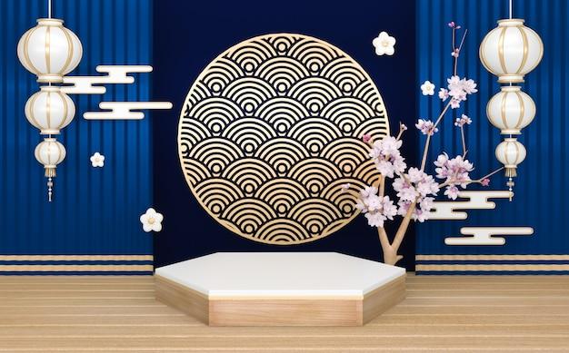 Blauw podium, minimale geometrische podium en decoratie japanse kleur toon 3d-rendering
