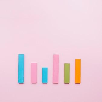 Blauw; roze; groen; en een oranje balk op een rij op roze achtergrond