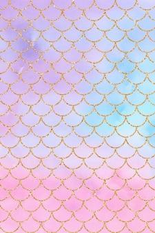 Blauw roze paars pastel zeemeermin aquarel achtergrondstructuur