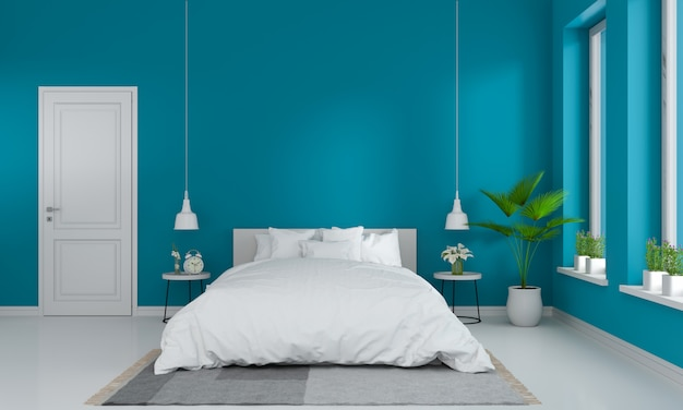 Blauw slaapkamerbinnenland