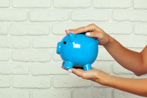 Blauw spaarvarken of spaarpot