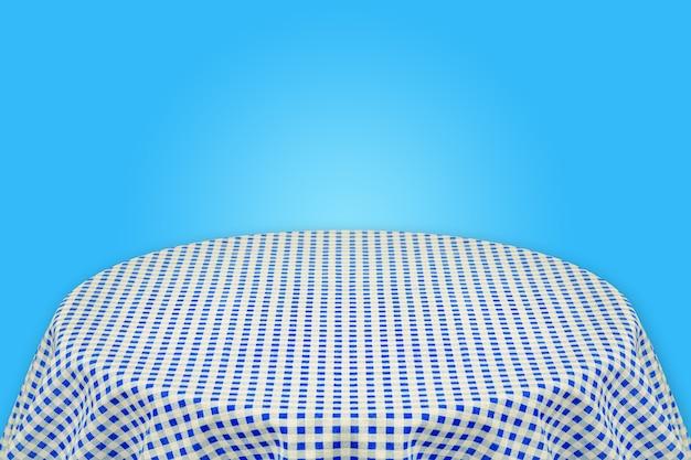 Blauw tafelkleed met blauwe achtergrond. achtergrond voor platte tekst of producten