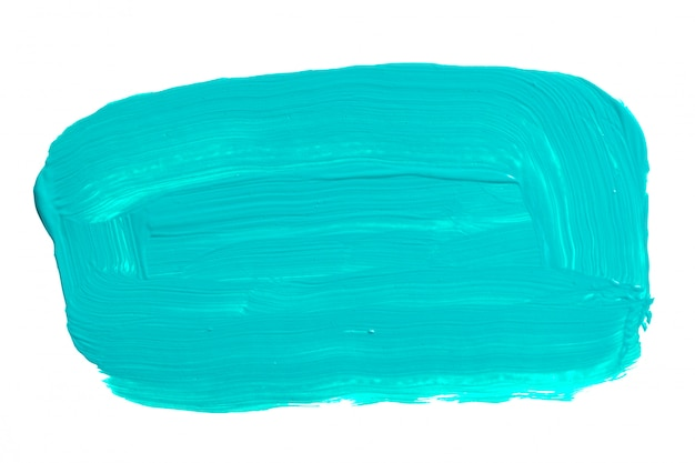 Blauw turquoise penseelstreek geïsoleerd op wit