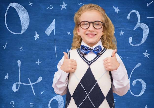 Blauw verdeel wiskunde hand getekende training
