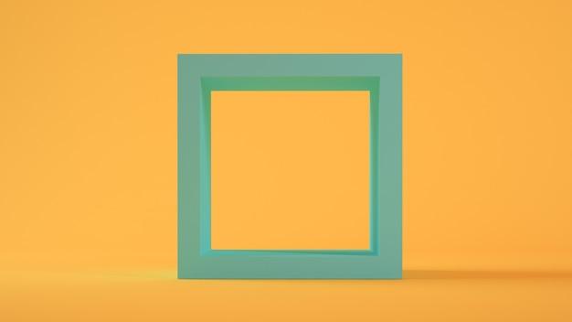 Blauw vierkant op gele achtergrond 3d-rendering