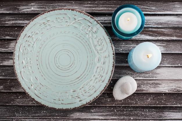 Blauw vintage porseleinen bord
