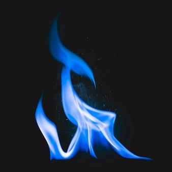 Blauw vlamelement, realistisch fakkelvuurbeeld