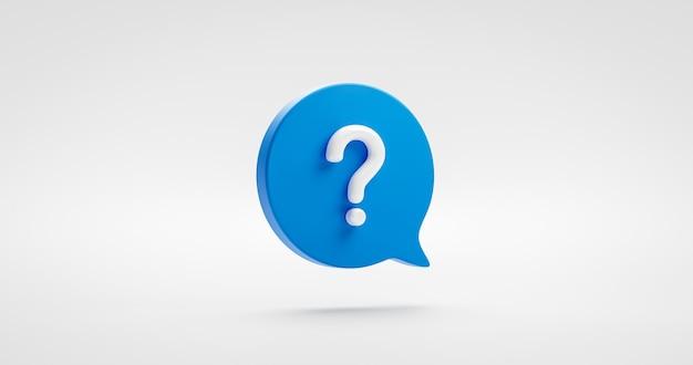 Blauw vraagteken pictogram teken of vraag faq antwoord oplossing en informatie ondersteuning illustratie zakelijke symbool geïsoleerd op een witte achtergrond met probleem grafisch idee of help concept. 3d-weergave.