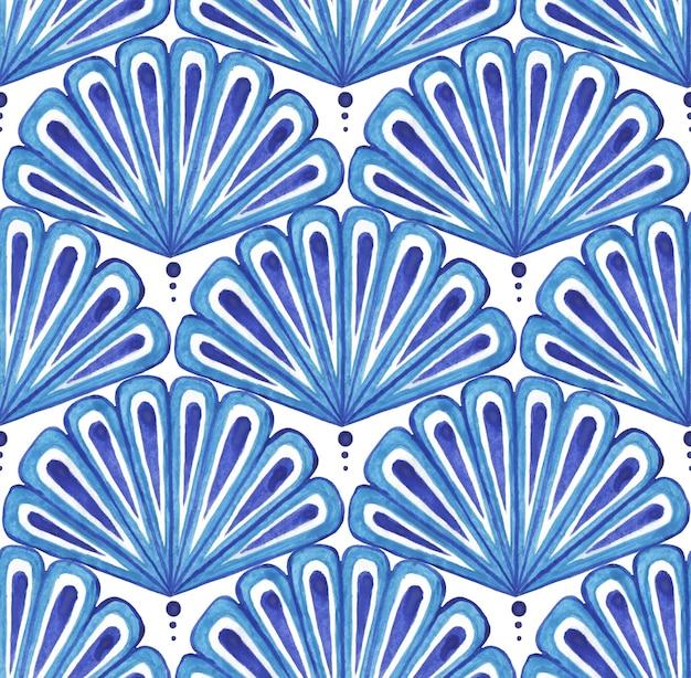 Blauw waaiervormig oosters patroon japans waaier naadloos patroon in blauwe kleurstijl japanse zee