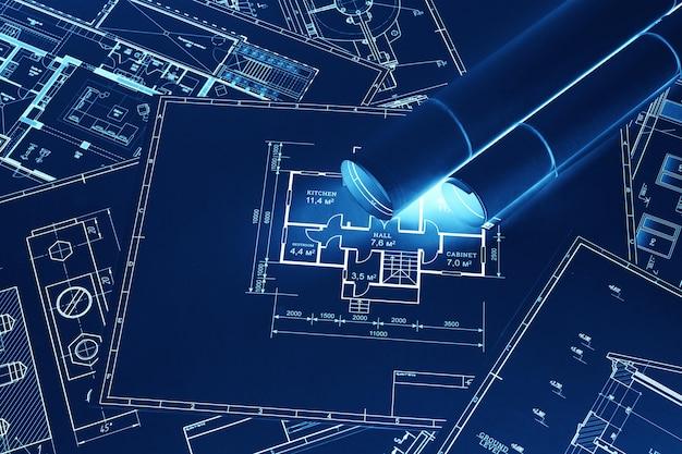 Blauw-witte constructietekeningen op tafel