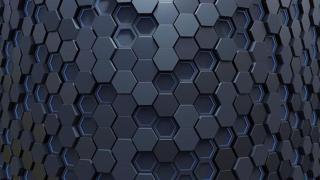 Blauw zeshoekig patroon