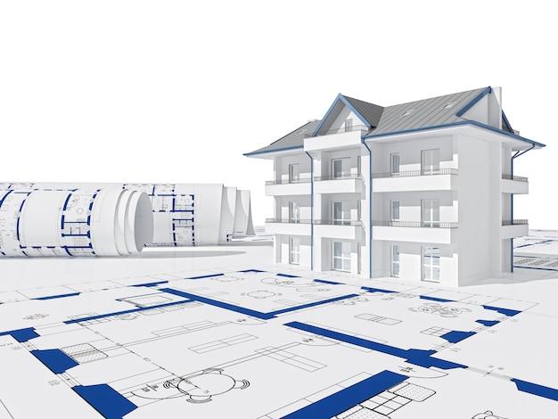 Blauwdruk en 3d-huis