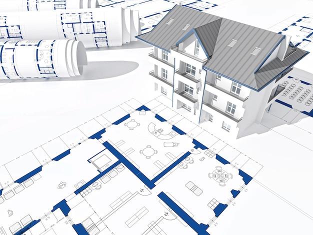 Blauwdruk en 3d-huisruimte