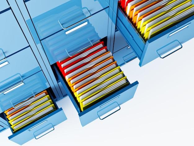 Blauwe 3d archiefkast en mappen
