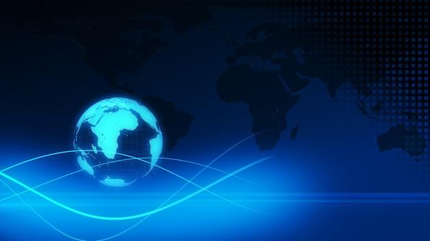 Blauwe aarde technologie, zakelijke en communicatie achtergrond