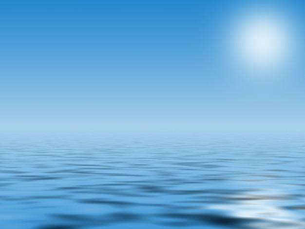 Blauwe abstracte achtergrond met golf en zon