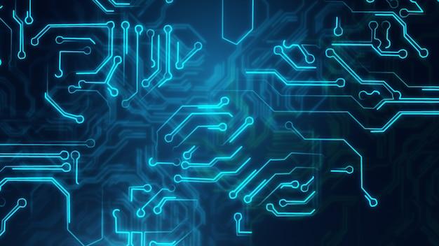 Blauwe abstracte achtergrond met high-tech printplaat
