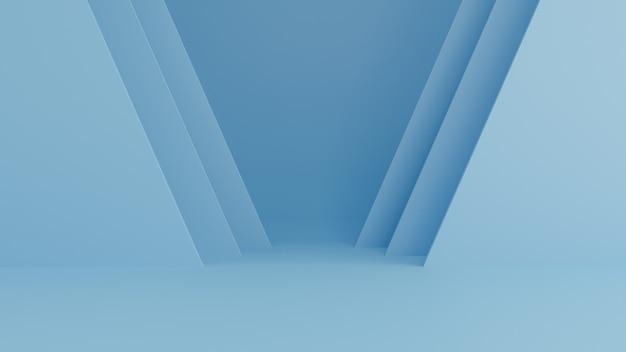 Blauwe abstracte achtergrond, minimaal concept. 3d-weergave
